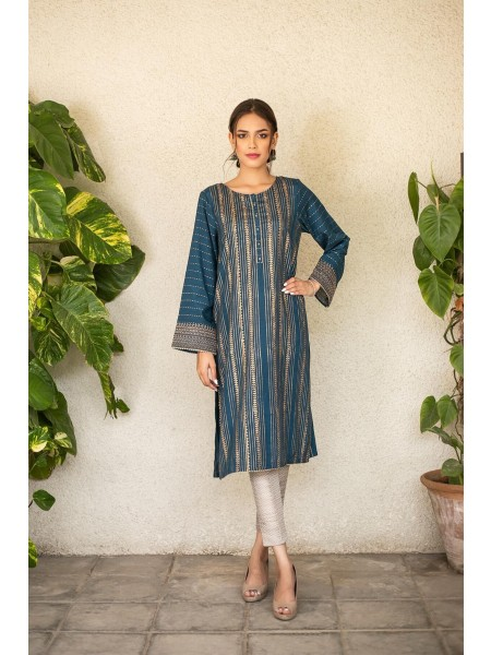 Zeen Woman Festive Edition Stitched 1 Piece Raw Silk Embroidered Shirt WZM10110-Deep-Aegean-Blue