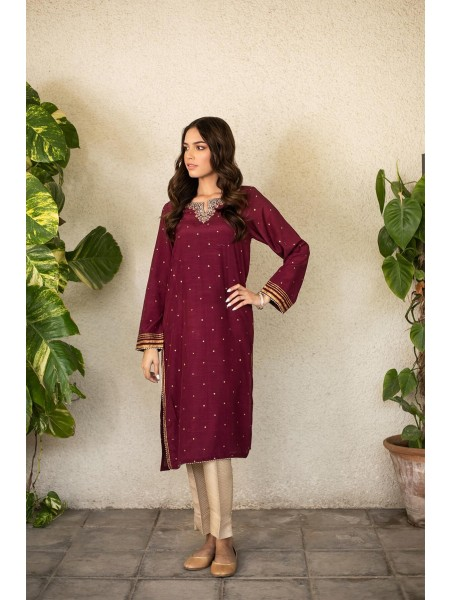 Zeen Woman Festive Edition Stitched 1 Piece Raw Silk Embroidered Shirt WZM10111-Mulberry