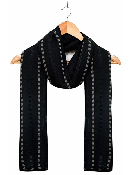 Zeen Woman Festive Edition Woven Solid Scarf - Black 647640