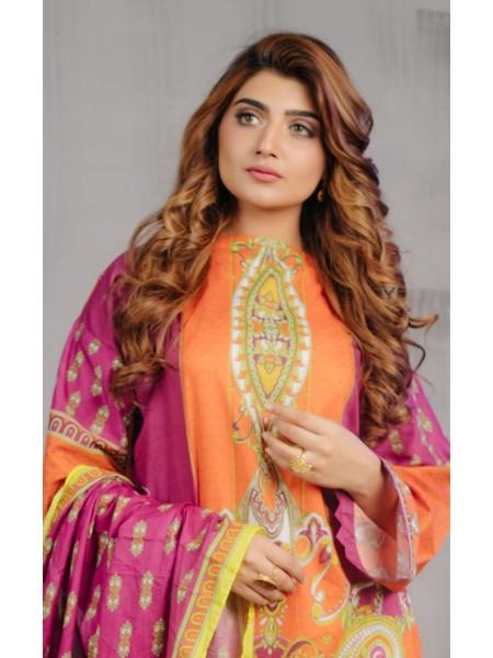 Zellbury Eid 20 Shirt Dupatta - Coral Orange - Lawn Suit ZWUSC220204