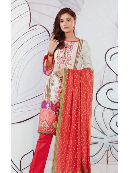 Zellbury Eid 20 Shirt Shalwar Dupatta - Ivory White - Embroidered Lawn Suit ZWUSCE320112