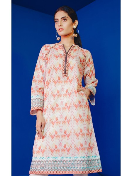 Zellbury Eid 20 Tango Orange - 1 Piece - Slub Lawn Shirt ZWROT20015