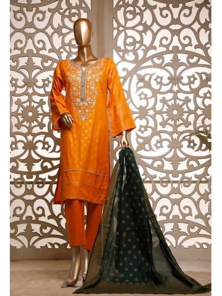 BIN SAEED Festive Stitched Gold Pearl Print Lawn Dupatta Vol-02 D-GL 01 EMB B
