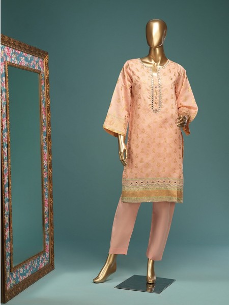 BIN SAEED Stitched Wood Silk Gold print Shirt D-FWC 01 B