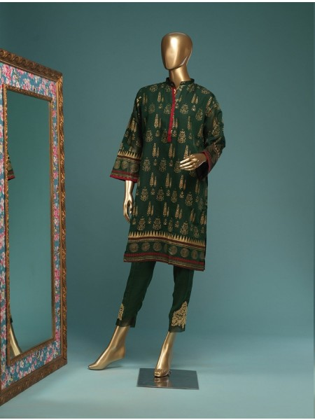 BIN SAEED Stitched Wood Silk Gold print Shirt D-FWC 02 A