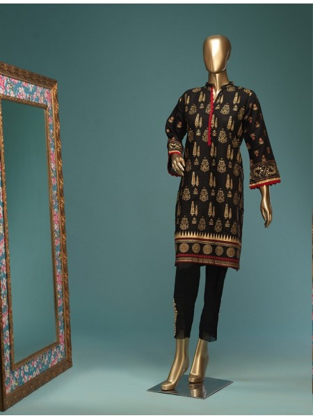 BIN SAEED Stitched Wood Silk Gold print Shirt D-FWC 02 C