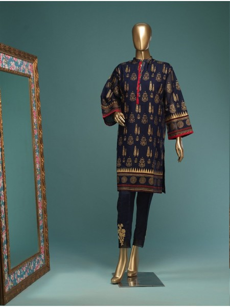 BIN SAEED Stitched Wood Silk Gold print Shirt D-FWC 02 D