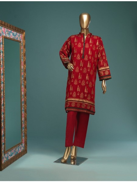 BIN SAEED Stitched Wood Silk Gold print Shirt D-FWC 02 E