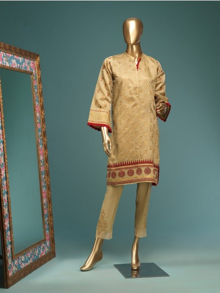 BIN SAEED Stitched Wood Silk Gold print Shirt D-FWC 03 B