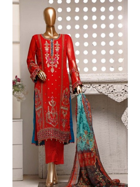 Khas Chiffon Unstitch Luxury Embroidered Collection D-04