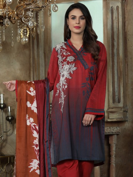 LimeLight Unstitched Summer Vol2 2-Pc Lawn Suit U1083SU-2PC-RED