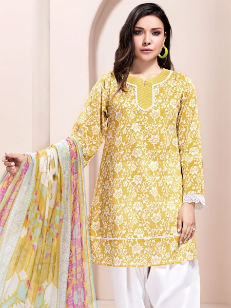 LimeLight Unstitched Summer Vol2 2-Pc Lawn Suit U1182SU-2PC-YLW