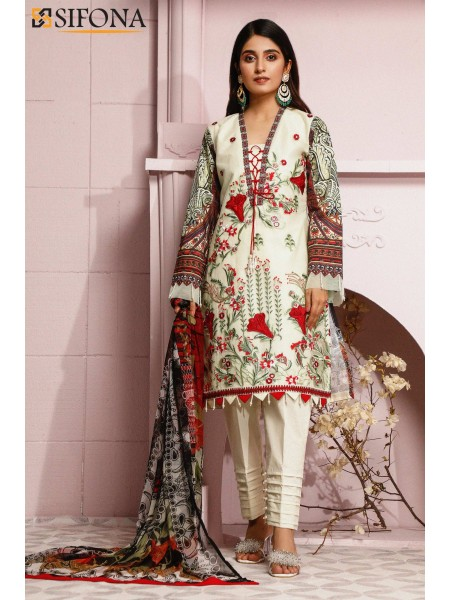 Sifona Allure Embroidered Lawn ACC-10 Sovereign Deity: