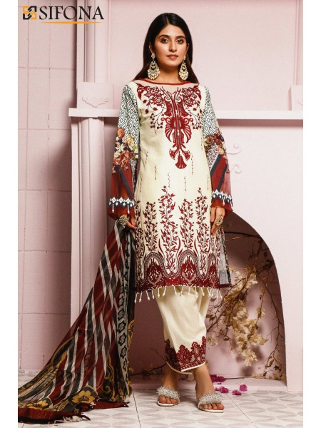 Sifona Allure Embroidered Lawn ACC-12 Misty Pied: