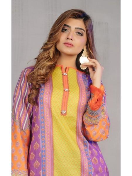 Zellbury New Arrivals Shirt Shalwar Dupatta - Hopbush Violet - Slub Lawn Suit