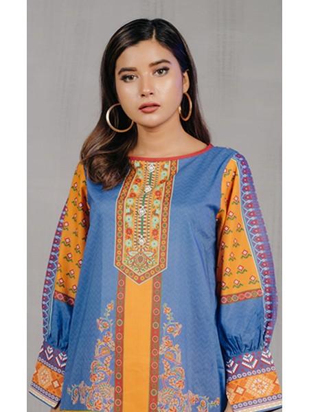 Zellbury New Arrivals Shirt Shalwar Dupatta - Sunset Blue - Lawn Suit