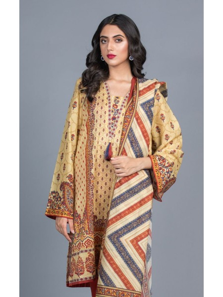Zellbury Unstitched Lawn Shirt Dupatta - Maize Orange - Lawn Suit ZWUMS220250