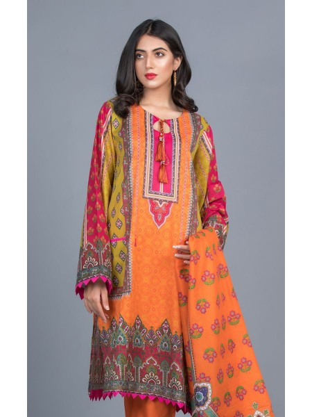 Zellbury Unstitched Lawn Shirt Dupatta - Tan Hide Orange - Lawn Suit ZWUMS220251