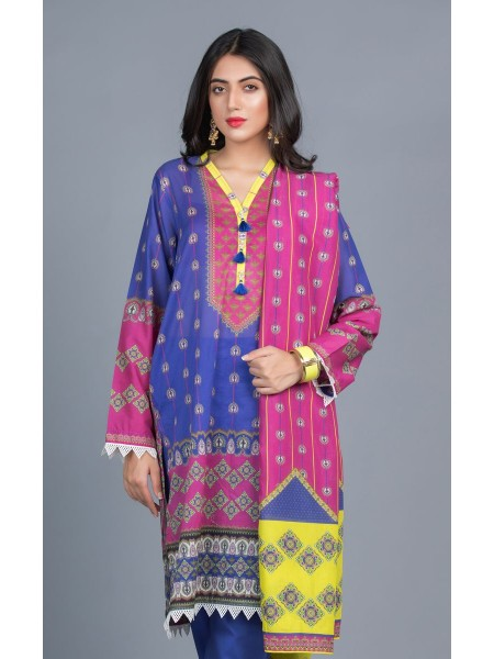 Zellbury Unstitched Lawn Shirt Shalwar Dupatta - Azure Blue - Lawn Suit ZWUMS320261