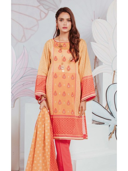 Zellbury Unstitched Lawn Shirt Shalwar Dupatta - Candlelight Orange - Lawn Suit ZWUSCE320134