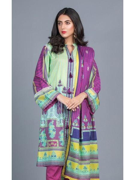 Zellbury Unstitched Lawn Shirt Shalwar Dupatta - Mint Green - Lawn Suit ZWUMS320270