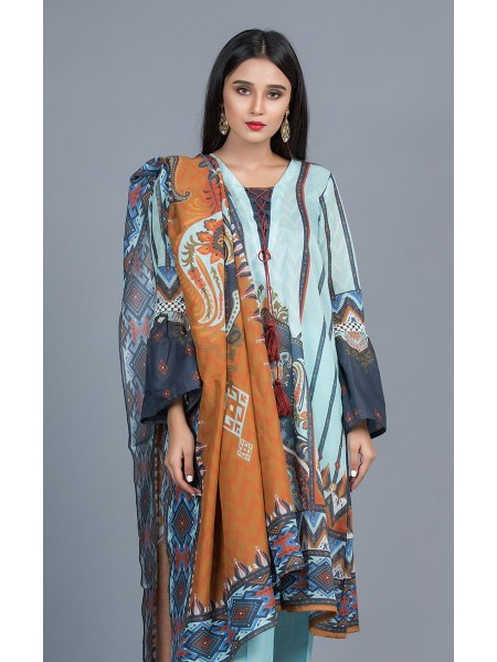 Zellbury Unstitched Lawn Shirt Shalwar Dupatta - Rock Blue - Lawn Suit ZWUMS320253
