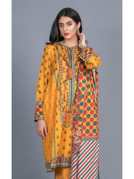 Zellbury Unstitched Lawn Shirt Shalwar Dupatta - Sea Buckthorn Orange - Lawn Suit ZWUMS320269