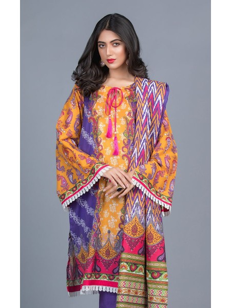 Zellbury Unstitched Lawn Shirt Shalwar Dupatta - Tangerine Orange - Lawn Suit ZWUMS320258