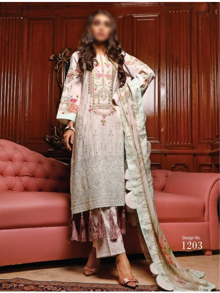 FIRDOUS SCHIFFLI UNSTITCHED EMBROIDERED FESTIVE COLLECTION D-1203