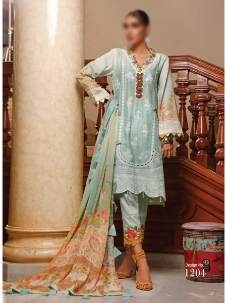 FIRDOUS SCHIFFLI UNSTITCHED EMBROIDERED FESTIVE COLLECTION D-1204
