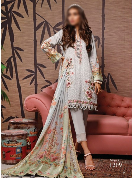 FIRDOUS SCHIFFLI UNSTITCHED EMBROIDERED FESTIVE COLLECTION D-1209