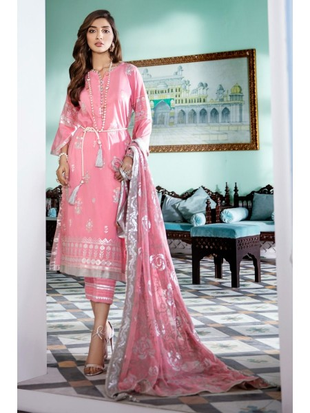 Gul Ahmed Eid 2020 3 PC Embroidered-Suit with Chiffon Dupatta FE-325