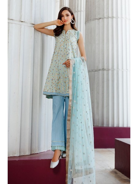 Gul Ahmed Eid 2020 3 PC Embroidered suit with Net Dupatta FE-330 B