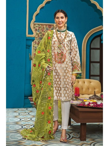 Gul Ahmed Eid 2020 3 PC Embroidered-Suit with Organza Dupatta FE-289