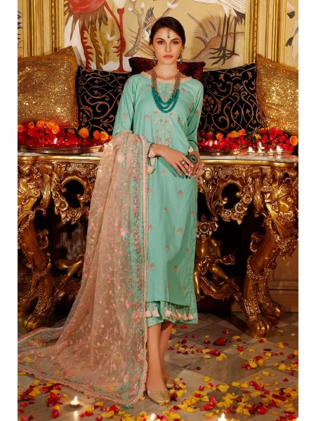 Gul Ahmed Eid 2020 3 PC Embroidered-Suit with Organza Dupatta FE-291