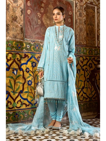Gul Ahmed Eid 2020 3 PC Embroidered Suit with Woven Net Dupatta FE-303