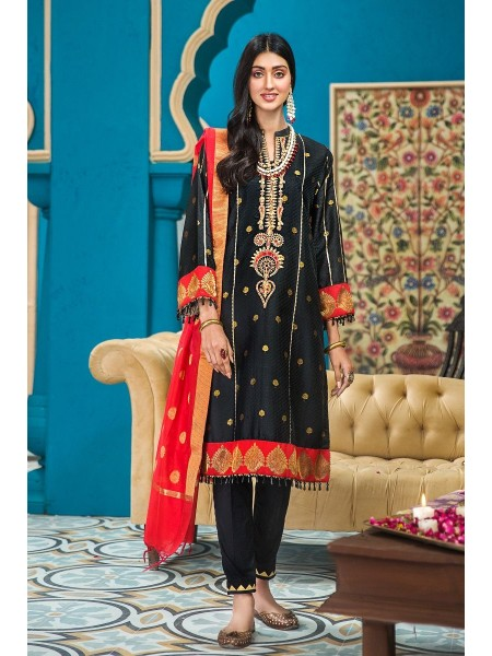 Gul Ahmed Eid 2020 3 PC Embroidered-Suit with Yarn Dyed Jacquard Dupatta FE-285