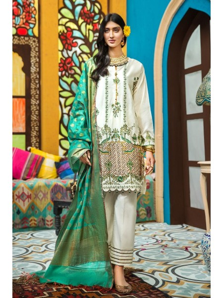 Gul Ahmed Eid 2020 3 PC Embroidered-Suit with Yarn Dyed Jacquard Dupatta FE-288