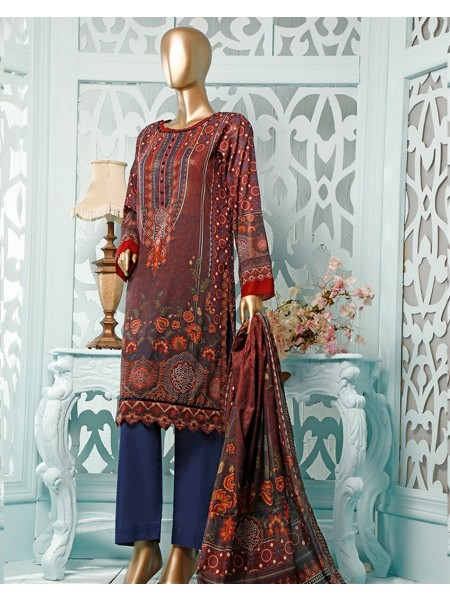 HZ TEXTILE Diamond Supreme Unstitched Printed Vol 02 D-DS-23 Maroon