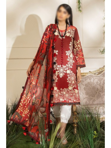 MUSHQ HEMLINE Unstitched Luxury Collection D-DANCING SCARLET