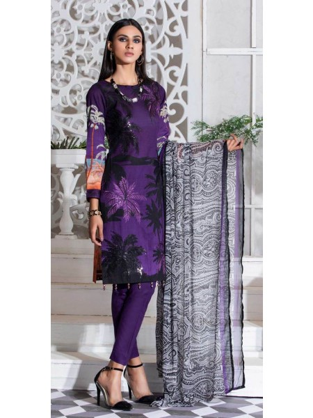 Salitex Unstitched 3pc Printed Lawn Shirt with Embroidered Front & Chiffon Dupatta Silkoria RC-180A