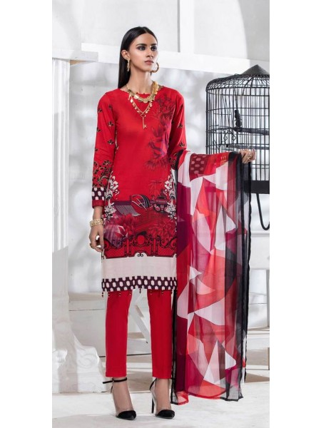 Salitex Unstitched 3pc Printed Lawn Shirt with Embroidered Front & Chiffon Dupatta Silkoria RC-181B