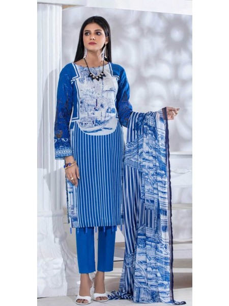 Salitex Unstitched 3pc Printed Lawn Shirt with Embroidered Front & Chiffon Dupatta Silkoria RC-182B