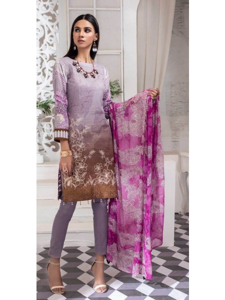 Salitex Unstitched 3pc Printed Lawn Shirt with Embroidered Front & Chiffon Dupatta Silkoria RC-183A