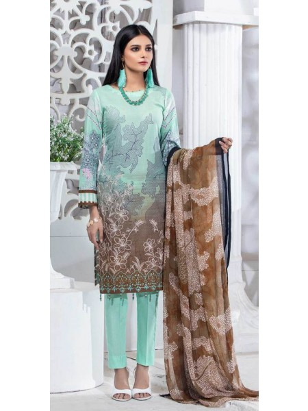 Salitex Unstitched 3pc Printed Lawn Shirt with Embroidered Front & Chiffon Dupatta Silkoria RC-183B
