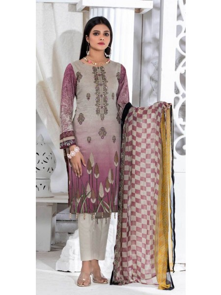 Salitex Unstitched 3pc Printed Lawn Shirt with Embroidered Front & Chiffon Dupatta Silkoria RC-184A