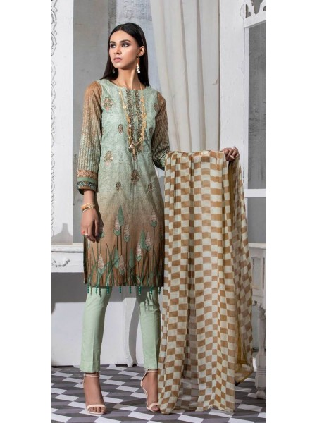 Salitex Unstitched 3pc Printed Lawn Shirt with Embroidered Front & Chiffon Dupatta Silkoria RC-184B