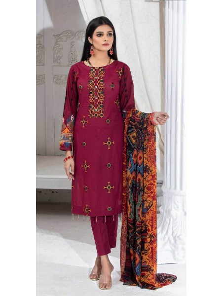 Salitex Unstitched 3pc Printed Lawn Shirt with Embroidered Front & Chiffon Dupatta Silkoria RC-185A
