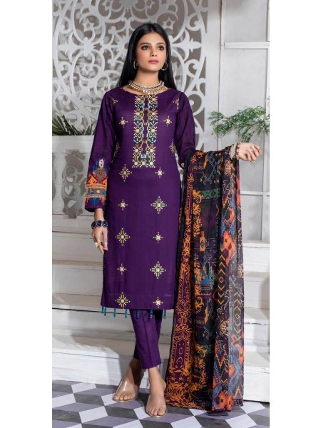 Salitex Unstitched 3pc Printed Lawn Shirt with Embroidered Front & Chiffon Dupatta Silkoria RC-185B