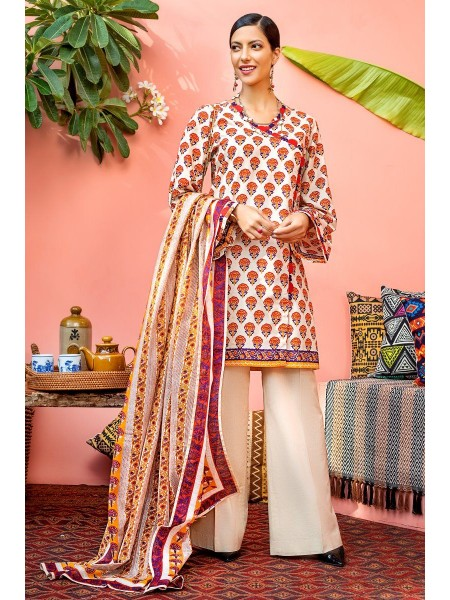Gul Ahmed Mid Summer Collection 2 PC Unstitched Printed Cambric Suit CNT-03